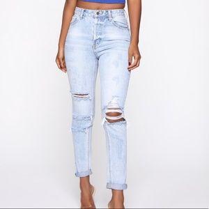 Fashion Nova Distressed Mom Jeans